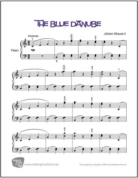 the blue danube easy piano sheet digital print