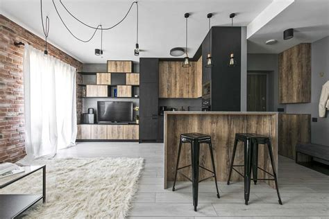A Small Industrial Apartment With A Home Office Blue Decor small industrial apartment in lithuania gets an inspiring