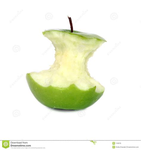 Green apple core stock photo. Image of delicious, bitten ...