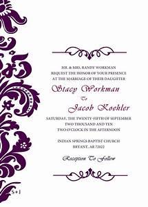 Purple damask wedding invitation weddings pinterest for Damask wedding invitations template free