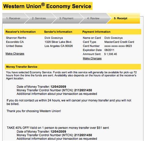 Fake Western Union Receipt Sample