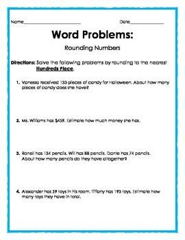 word problems rounding worksheets word problems rounding to the nearest hundreds place word problems math word problems first