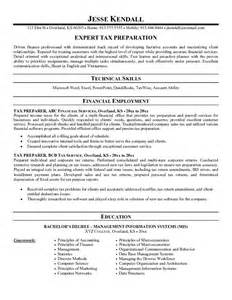 Tax Accountant Resume Summary by Exle Tax Preparer Resume Free Sle