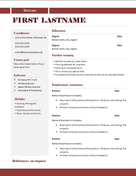 Copy Of Cv Template by Free Cv Templates 289 To 295 Free Cv Template Dot Org