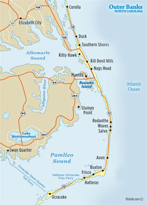 outer banks nc map visitob outer banks vacation guide