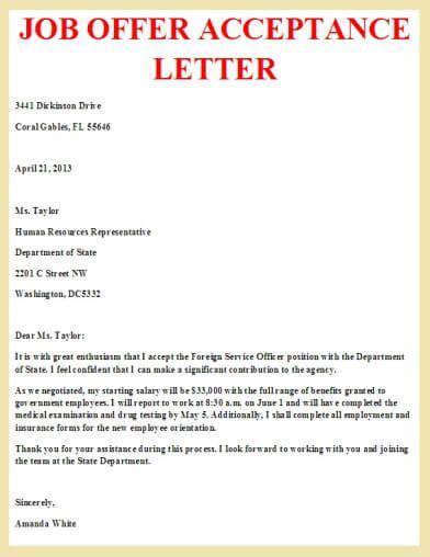 job offer acceptance letter letter pinterest job