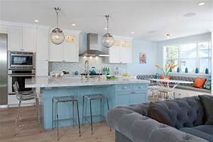 turquoise kitchen island contemporary kitchen With what kind of paint to use on kitchen cabinets for mid century brass wall art