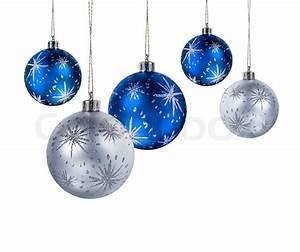 Weihnachtskugeln Weiß Silber : blau und silber weihnachtskugeln h ngen isoliert auf wei em hintergrund stockfoto colourbox ~ Sanjose-hotels-ca.com Haus und Dekorationen
