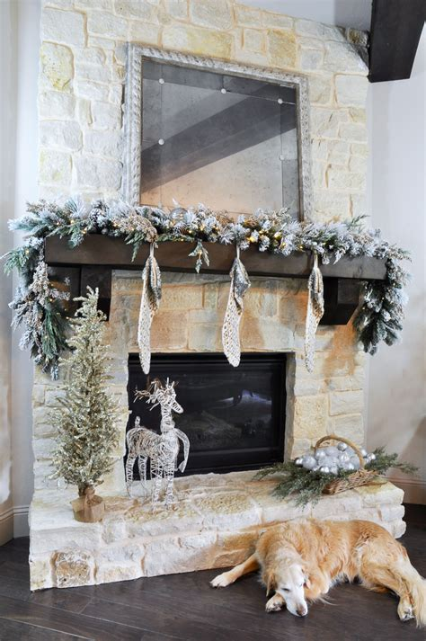Glass Tray Decor by A Rustic Holiday Mantle With Flocked Garland Decor Gold
