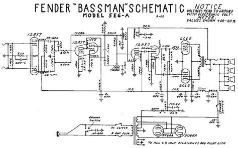 fender bassman tube amp schematic model   guitar