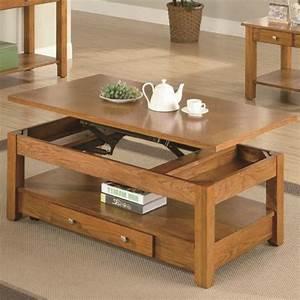 Table Basse Avec Plateau Relevable : table basse relevable bois ~ Teatrodelosmanantiales.com Idées de Décoration