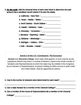 Electoral College Map Worksheet By Rebecca Miller Tpt