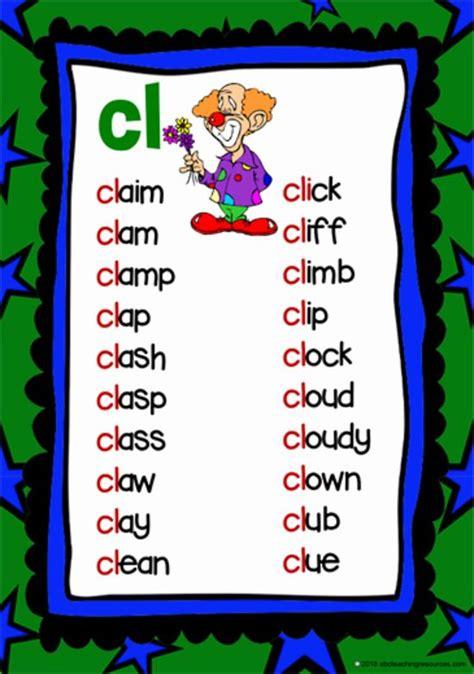 cl beginning blend cards phonics words phonics