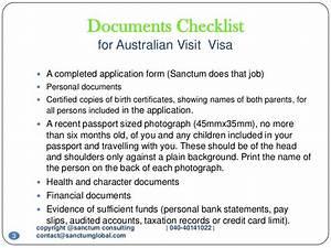 Australian visit visa sanctum consulting for Document checklist australia visa