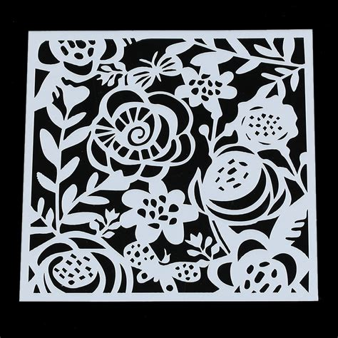 pc rose flowers layering stencils airbrush art painting