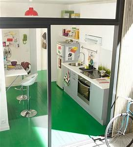 Cuisine dans 5 m2 cozinhas pinterest small spaces for Kitchen cabinets lowes with leroy merlin papiers peints