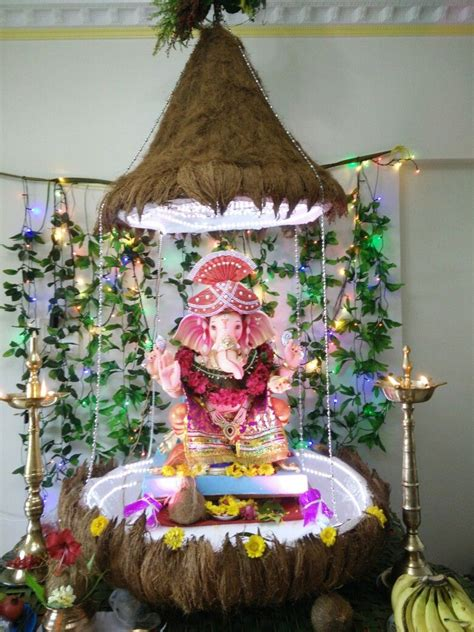 ganpati decoration coconut theme creative ganpati