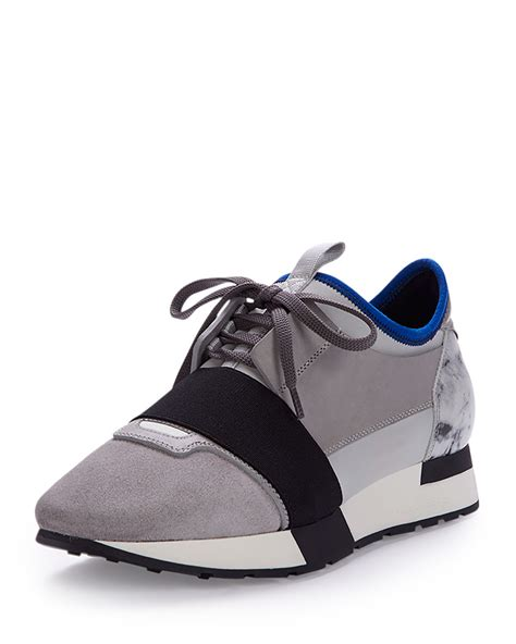 shoe stores balenciaga mixed media leather sneaker in gray lyst