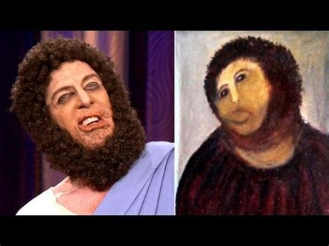 Jesus Painting Restoration Meme - the real jesus defends his spanish portrait restoration conan on tbs youtube