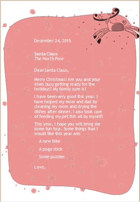 ms word letter  santa template word excel templates