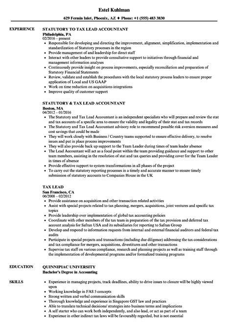 Tax Lead Resume Samples | Velvet Jobs