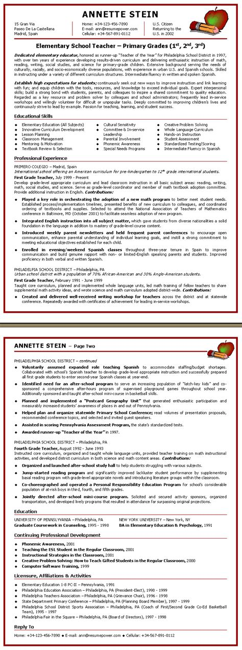 Sle Resume For Teachers by Resume Elementary School Sle Resume