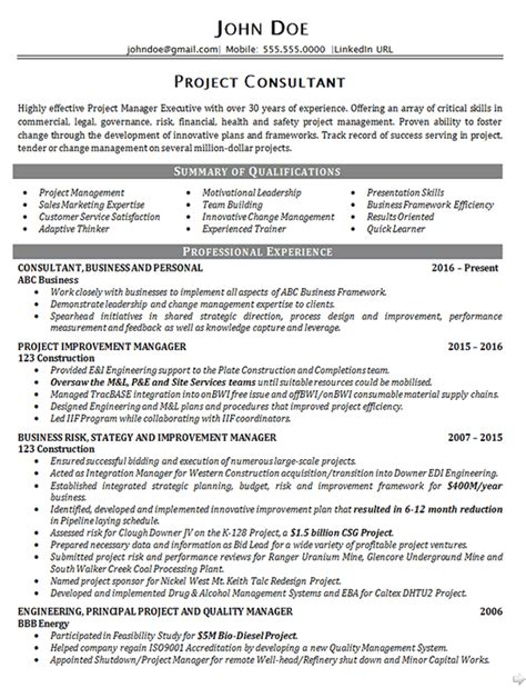 executive project consultant resume exle business manager
