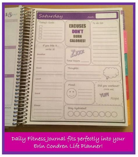 fitness journal fitness planner fitness journal and erin condren on