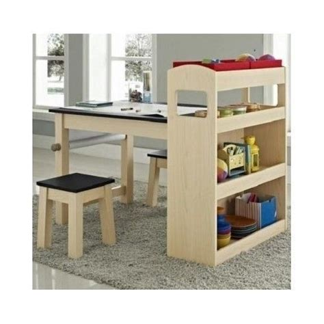 kids desk with bookcase kids activity table desk two stools bookcase storage