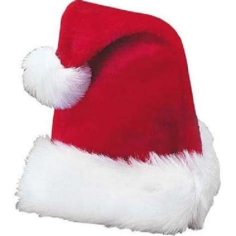 christmas deluxe red white plush santa hat with pompom