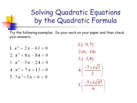 Solving Quadratic Equations By The Quadratic Formula  Ppt Download