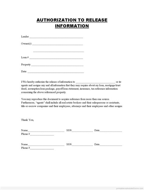 authorization to release information release of information forms printable blank template