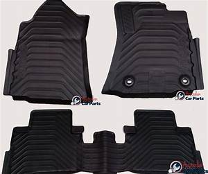 Hilux rubber floor mats front rear 2015 2016 new genuine for Original toyota floor mats