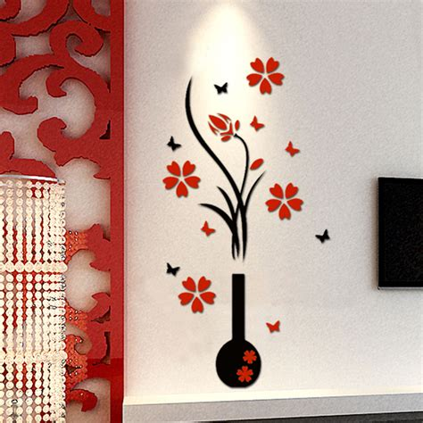 drawing decoration 3d flower beautiful diy wall decals mural stickers Wall