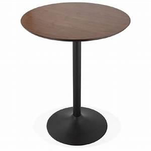 Pied Pour Table Haute : table haute mange debout design laura en bois pieds m tal noir 90 cm finition noyer ~ Teatrodelosmanantiales.com Idées de Décoration