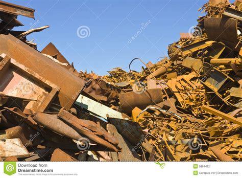 metal scrap heap stock photo image  steel cobble dump