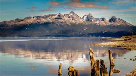 wallpaper mountain  hd wallpaper lake sea ushuaia