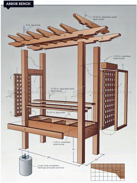 arbor bench plans woodarchivist
