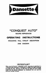 Dansette Products Conquest Auto Record Reproducer Sch