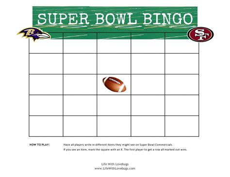 Super Bowl Bingo Printable