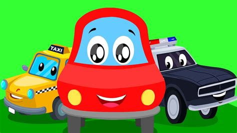 red car street vehicle song learn street