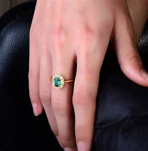 1 carat halo gemstone green emerald and diamond engagement for Emerald green wedding ring