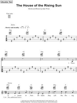 animals  house   rising sun ukulele tab