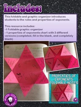 properties  exponents foldable notes  idea galaxy tpt
