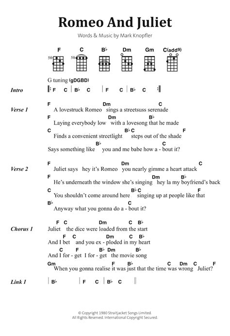 verse 1 c am g a lovestruck romeo sings a streetsuss serenade c g am f laying everybody low with a love song that he made g f g c finds a street light. Romeo And Juliet Sheet Music   Dire Straits   Banjo Chords ...