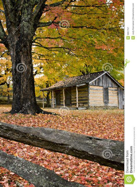 virginia log cabin  autumn stock image image