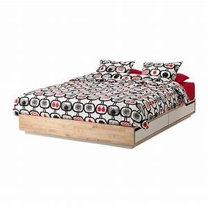 Mandal cadre lit avec rangement 140x202 cm ikea for Cadre de lit mandal