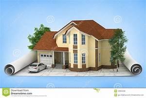 Haus Zeichnen 3d : bauplan mit haus und holz 3d stockfoto bild 43904428 ~ Watch28wear.com Haus und Dekorationen