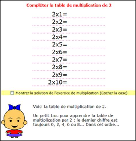 multiplication tables de multiplications de 1 2 3 4 5 6