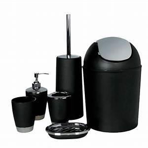 Bricorama Salle De Bain : ensemble de 6 accessoires salle de bain noir ~ Dailycaller-alerts.com Idées de Décoration